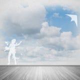 Змей девушки и летания Стоковая Фотография RF