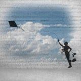 Змей девушки и летания Стоковая Фотография