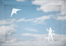 Змей девушки и летания Стоковые Фотографии RF