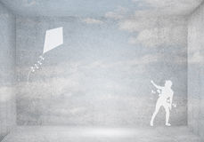 Змей девушки и летания Стоковое фото RF