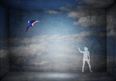 Змей девушки и летания Стоковое Изображение RF