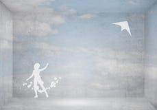 Змей девушки и летания Стоковые Фото