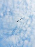 Змей летания в голубом небе, голубом небе и облаках, силуэте змея ` детей Стоковые Фотографии RF