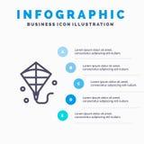 Змей, летание, линия значок фестиваля с предпосылкой infographics представления 5 шагов иллюстрация вектора