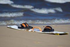 Змей доски на пляже Стоковые Фото