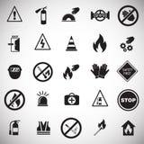 Знаки безопасности и запрета установили на белую предпосылку бесплатная иллюстрация