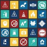 Знаки безопасности и запрета установили на предпосылку квадратов цвета бесплатная иллюстрация
