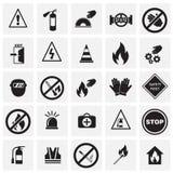 Знаки безопасности и запрета установили на предпосылку квадратов бесплатная иллюстрация