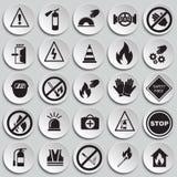 Знаки безопасности и запрета установили на предпосылку плит иллюстрация вектора