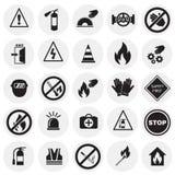 Знаки безопасности и запрета установили на предпосылку circels бесплатная иллюстрация