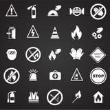 Знаки безопасности и запрета установили на черную предпосылку бесплатная иллюстрация
