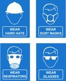 знаки безопасности распологают рабочее место Стоковое Изображение