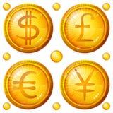 знаки валюты кнопок установленные Стоковые Изображения RF