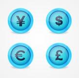 Знаки валюты на лоснистых иконах Стоковое Изображение