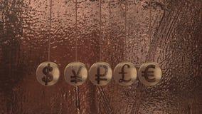 Знаки валюты, вашгерд Ньютона, шарики летания иллюстрация вектора