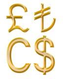 Знаки валют: фунт, канадский доллар, лиры бесплатная иллюстрация
