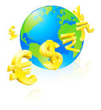 знаки глобуса валют принципиальной схемы Стоковые Фотографии RF