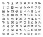 Знаки дела чернят тонкую линию набор значка вектор иллюстрация штока