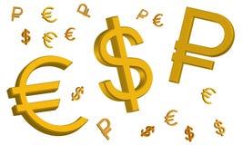 Знаки евро, русского рубля и доллара США стоковое изображение