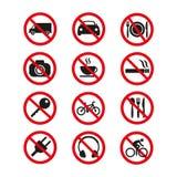 Знаки запрета установили безопасность на белой предпосылке бесплатная иллюстрация