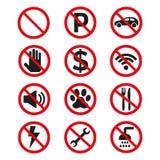 Знаки запрета установили безопасность на белой предпосылке иллюстрация вектора