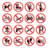 Знаки запрета установили иллюстрацию вектора информации о безопасности иллюстрация штока