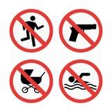Знаки запрета установили иллюстрацию вектора информации о безопасности иллюстрация вектора