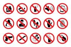 Знаки запрета Установленные красные значки вектор бесплатная иллюстрация