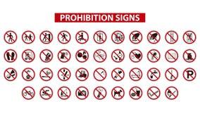 Знаки запрета иллюстрация вектора