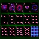 Знаки зодиака серии играя карточек неоновые Комплект играя карточек костюма сердца полный Стоковая Фотография RF