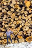 Знаки и символ дня валентинок чертежа молодой женщины на древесинах Стоковые Фотографии RF