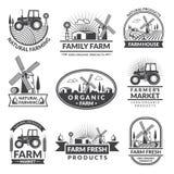 Знаки и ярлыки для рынка фермы Monochrome комплект ярлыков с местом для вашего текста иллюстрация вектора