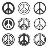 Знаки мира Hippie установленные на белую предпосылку вектор Стоковые Фотографии RF