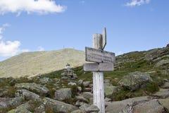 Знаки на зиге водя к Mt. Вашингтону Стоковое Изображение RF