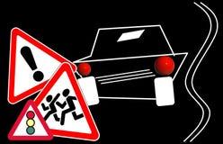 Знаки дорожного движения вниманиях иллюстрация вектора