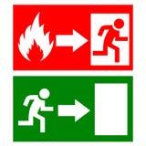 Знаки пожарного выхода вектора Стоковое Изображение RF