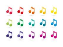 Знаки примечания музыки спектра радуги Стоковые Фото