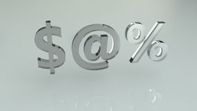 знаки процентов доллара стеклянные Стоковые Фото