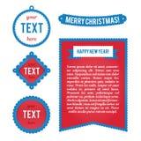 Знаки рождества, ярлыки, ярлыки Шаблоны для поздравительных открыток Стоковые Фото