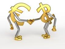 знаки рукопожатия евро доллара Стоковое Изображение RF