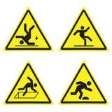 Знаки треугольника предупреждающей опасности желтые установили изолированный на белизне иллюстрация вектора