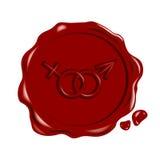 знаки уплотнения masculin feminin красные Стоковое Изображение RF