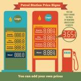 Знаки цены бензозаправочной колонки Стоковое Изображение RF