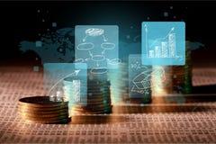 Знаки цифров на предпосылке денег Стоковая Фотография RF