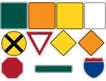 знаки 1 дороги установленные стоковая фотография rf