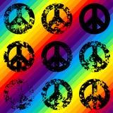 Знаки Grunge черные pacific на радуге иллюстрация вектора