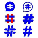 Знаки hashtag Знак числа, хэш, или знак фунта Собрание руки 6 покрасило символы изолированный на белой предпосылке иллюстрация вектора
