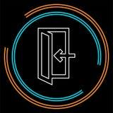 Знак аварийного выхода, значок входной двери, стратегия выхода - вход двери иллюстрация штока