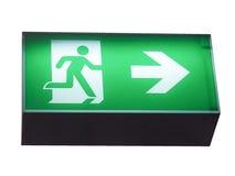 Знак аварийного выхода изолированный над белизной Стоковые Фотографии RF