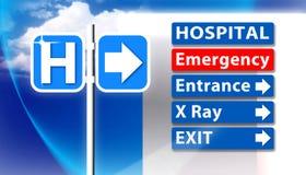 Знак аварийной ситуации больницы Стоковые Изображения